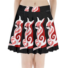 Red abstract cat Pleated Mini Skirt