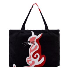 Red Abstract Cat Medium Tote Bag