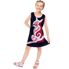 Red Abstract Cat Kids  Tunic Dress