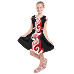 Red abstract cat Kids  Short Sleeve Dress