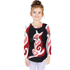 Red Abstract Cat Kids  Long Sleeve Tee