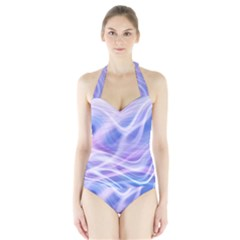Abstract Graphic Design Background Halter Swimsuit