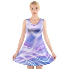 Abstract Graphic Design Background V-Neck Sleeveless Skater Dress
