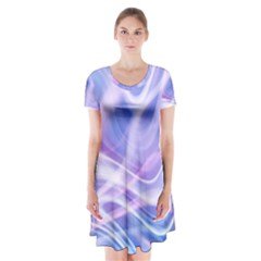 Abstract Graphic Design Background Short Sleeve V-neck Flare Dress