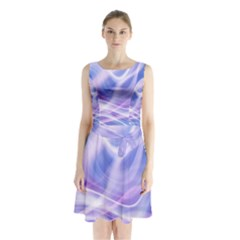 Abstract Graphic Design Background Sleeveless Chiffon Waist Tie Dress