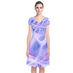 Abstract Graphic Design Background Short Sleeve Front Wrap Dress