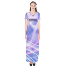 Abstract Graphic Design Background Short Sleeve Maxi Dress