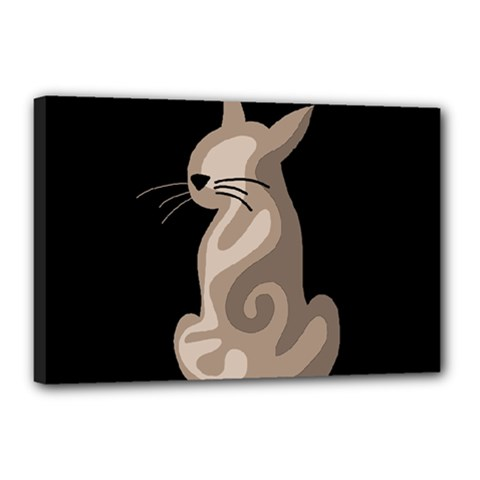 Brown abstract cat Canvas 18  x 12