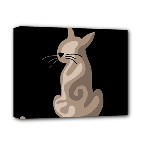 Brown abstract cat Deluxe Canvas 14  x 11
