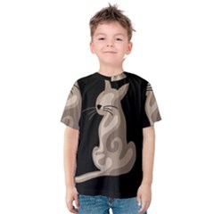 Brown abstract cat Kids  Cotton Tee