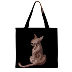 Brown abstract cat Grocery Tote Bag