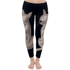 Brown abstract cat Classic Winter Leggings