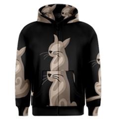 Brown abstract cat Men s Zipper Hoodie
