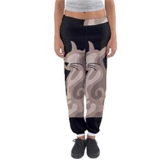 Brown abstract cat Women s Jogger Sweatpants
