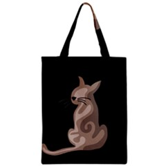 Brown abstract cat Zipper Classic Tote Bag