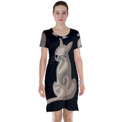 Brown abstract cat Short Sleeve Nightdress