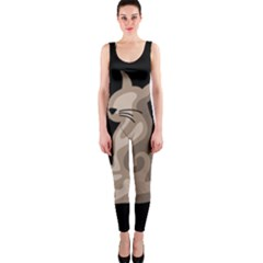 Brown abstract cat OnePiece Catsuit