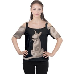 Brown abstract cat Women s Cutout Shoulder Tee