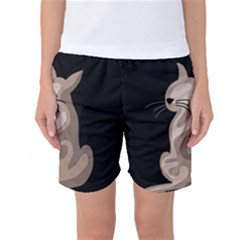 Brown abstract cat Women s Basketball Shorts