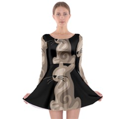 Brown abstract cat Long Sleeve Skater Dress