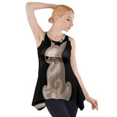 Brown abstract cat Side Drop Tank Tunic