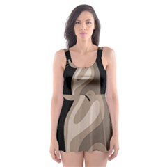 Brown abstract cat Skater Dress Swimsuit