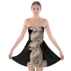 Brown Abstract Cat Strapless Bra Top Dress