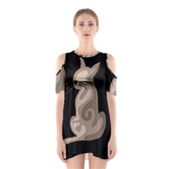 Brown abstract cat Cutout Shoulder Dress