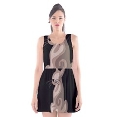 Brown abstract cat Scoop Neck Skater Dress