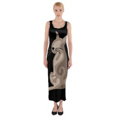 Brown abstract cat Fitted Maxi Dress