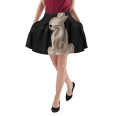 Brown abstract cat A-Line Pocket Skirt