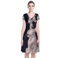 Brown abstract cat Short Sleeve Front Wrap Dress