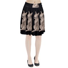 Brown abstract cat Pleated Skirt