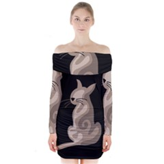Brown Abstract Cat Long Sleeve Off Shoulder Dress