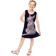 Brown abstract cat Kids  Tunic Dress