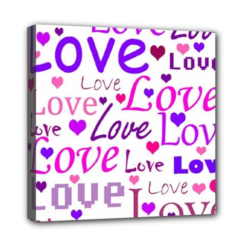 Love pattern Mini Canvas 8  x 8
