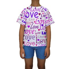 Love pattern Kids  Short Sleeve Swimwear