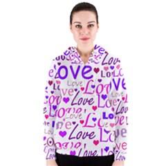 Love pattern Women s Zipper Hoodie