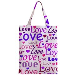 Love pattern Zipper Classic Tote Bag