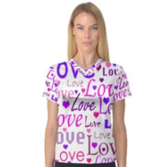 Love pattern Women s V-Neck Sport Mesh Tee