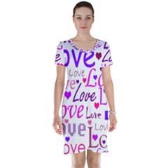 Love pattern Short Sleeve Nightdress