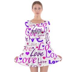 Love pattern Long Sleeve Skater Dress