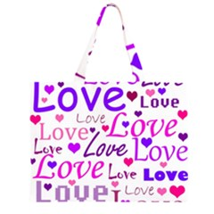 Love pattern Zipper Large Tote Bag