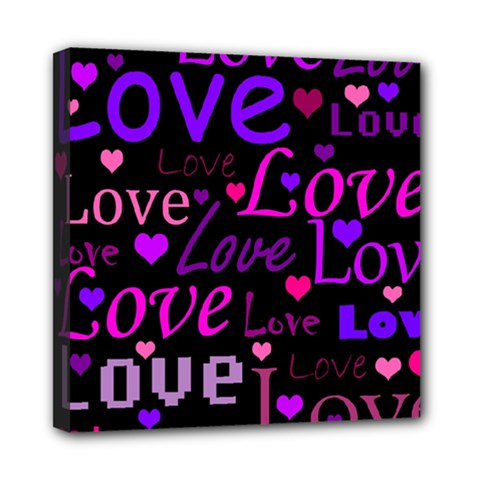 Love pattern 2 Mini Canvas 8  x 8