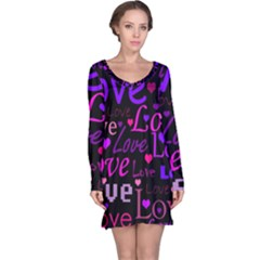 Love pattern 2 Long Sleeve Nightdress