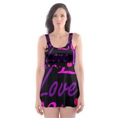 Love pattern 2 Skater Dress Swimsuit