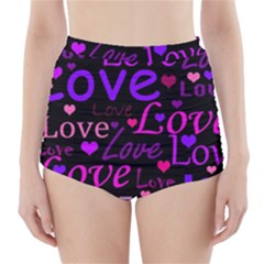 Love pattern 2 High-Waisted Bikini Bottoms