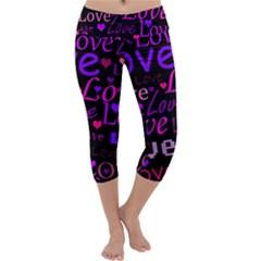 Love pattern 2 Capri Yoga Leggings