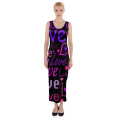 Love pattern 2 Fitted Maxi Dress