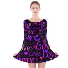 Love pattern 2 Long Sleeve Velvet Skater Dress